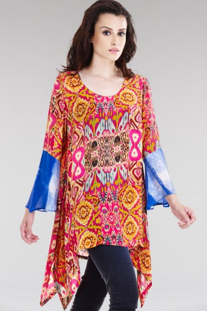 Floral Ikat Wave Top