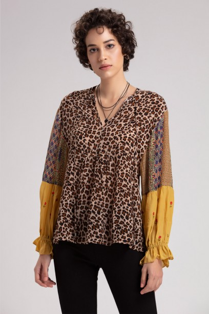 Moss Blouson  Sleeve Top