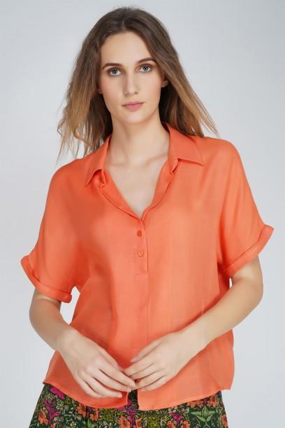 Coral Shirt Top