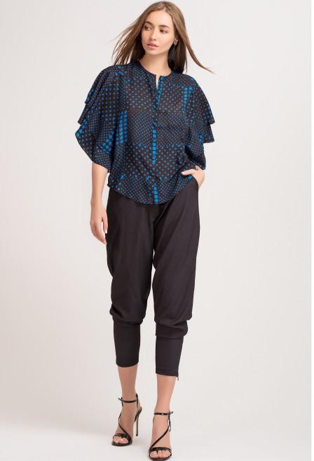 Blue Batik Silk Button Down Shirt