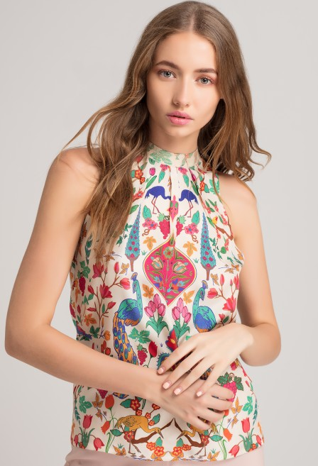 Peacock Silk Halter Top