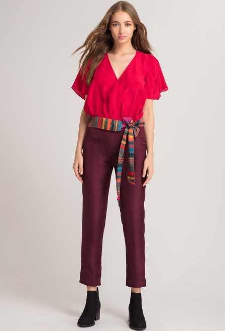 Red Contrast Wrap Top