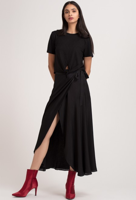 Black Long Wrap Skirt