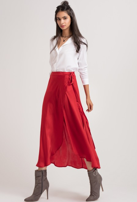 Red Long Wrap Skirt