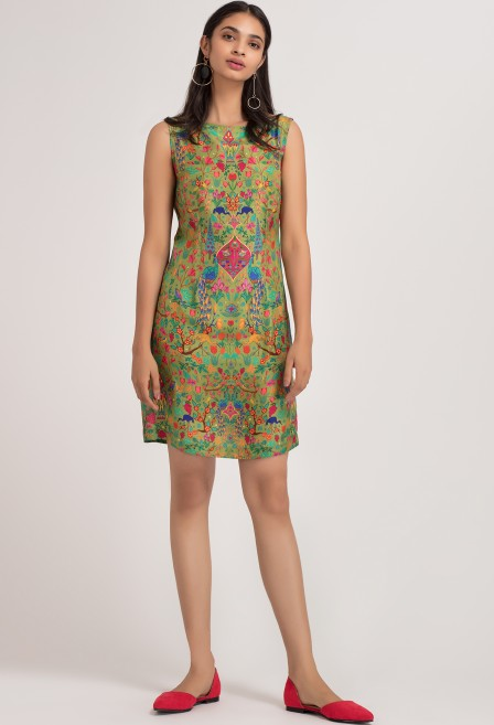 Peacock Silk Sheath Dress