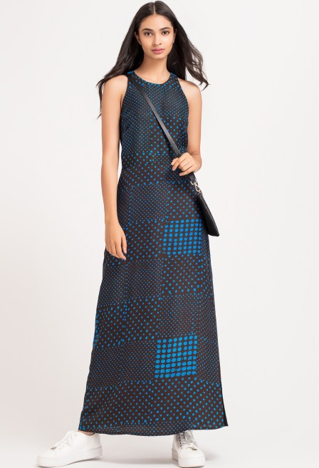 Blue Batik Silk Maxi Dress