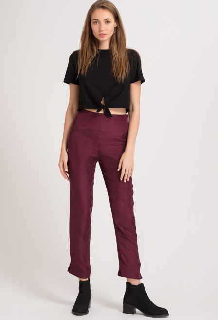 Burgundy Silk Pants