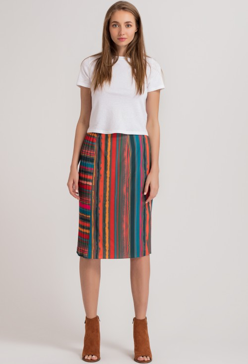 Stripe Pleated Pencil Skirt