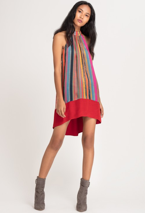 Stripe High-Low Dress