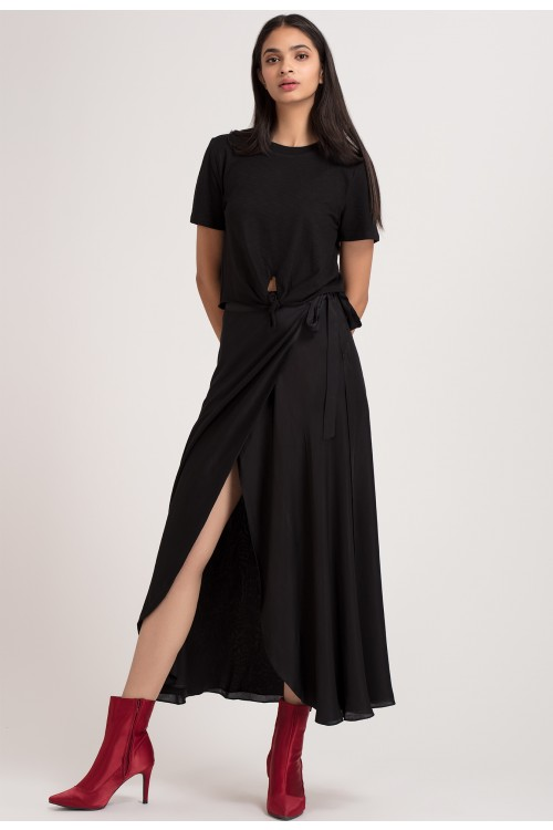 327daaf7ec Black Long Wrap Skirt - Shop Now | Benares Fashion