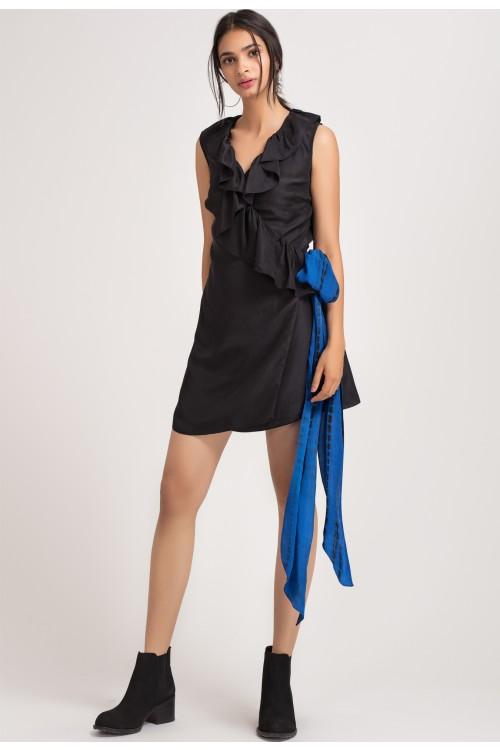 a806f24e0db9 Home  Black Silk V-Neck Wrap Dress. X
